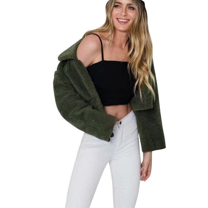 Longues Lapel Outwear Veste Manches Chaud Lady Toison D'hiver vert Manteau Caban Courtes Femmes fpC1aTFf