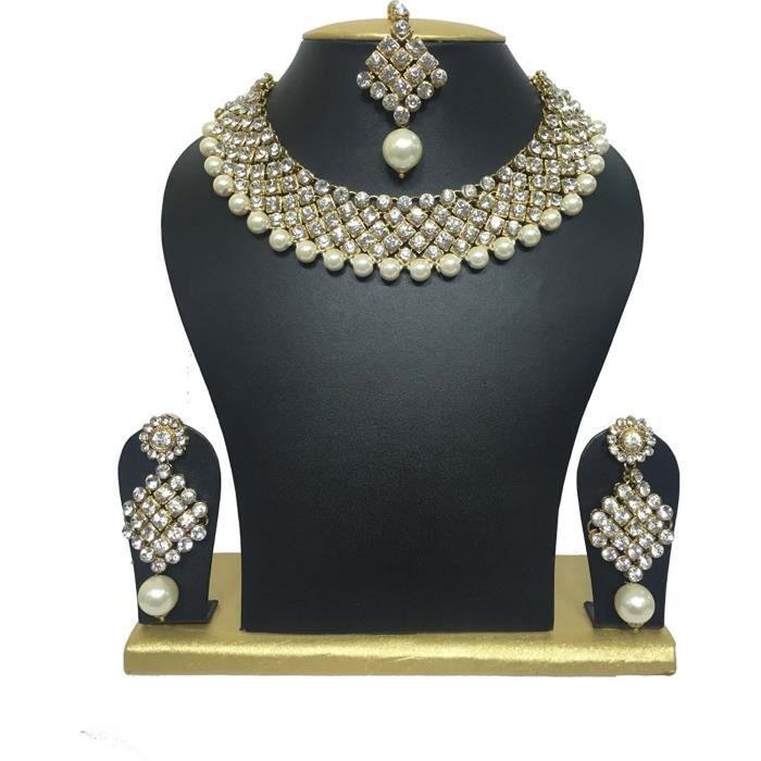 Femmes en cristal de diamant Choker traditionnel et Perle Tenues de soirée Collier Set - Set avec M bijoux TTX1U