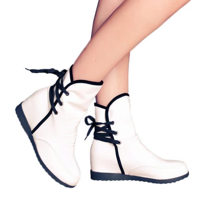 Féminin Haut Chaussures Bottes Talon Mode Pour Chaud down11356 Compensées Lacets Casual Femmes wv670Fqw
