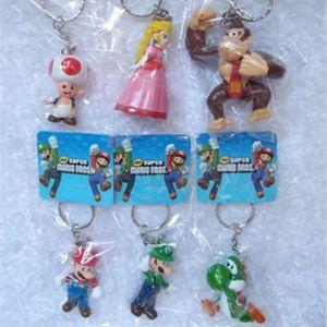PORTE-CLÉS 6 Pcs-Lot Super Mario Bros porte-clés Mario Luigi
