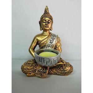BOUGEOIR - CHANDELIER statue bouddha 14,5 cm doré méditation bougie Boud