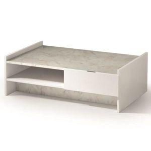 TABLE BASSE Table basse design MARVEL blanche plateau en marbr
