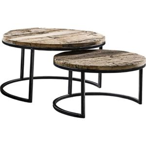 TABLE BASSE Ensemble de 2 tables basses rond piètement acier e