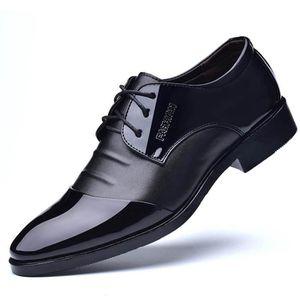 DERBY Chaussures derby pour hommes en cuir verni décontr