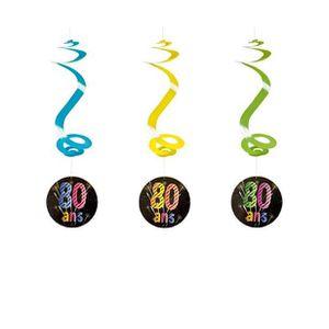 Déco de fête murale Suspension spirale anniversaire 80ans (x4) REF/AA2