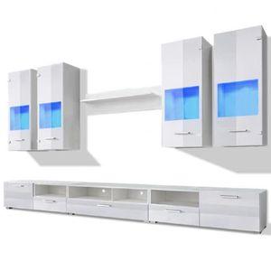 MEUBLE TV Meuble TV à vitrine murale Blanc avec lumière LED