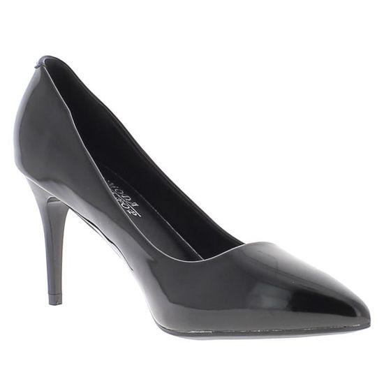 Escarpins noirs vernis à talon aiguille de 8 cm pointu Noir Noir - Achat / Vente escarpin