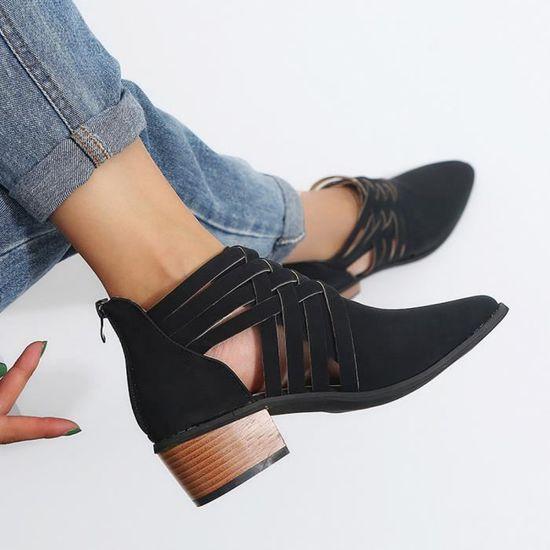 Femmes Femmes Automne Chaussures Martin cheville solides Bottes Court Martin Chaussures Roman Chaussures simples qinhig1777 Noir Noir - Achat / Vente botte b0d90d