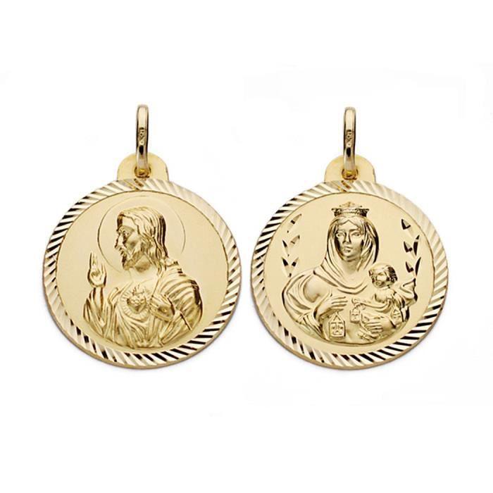 Médaille pendentif 18k or Virgen del Carmen et Jésus-Christ 22mm. [AA0559]