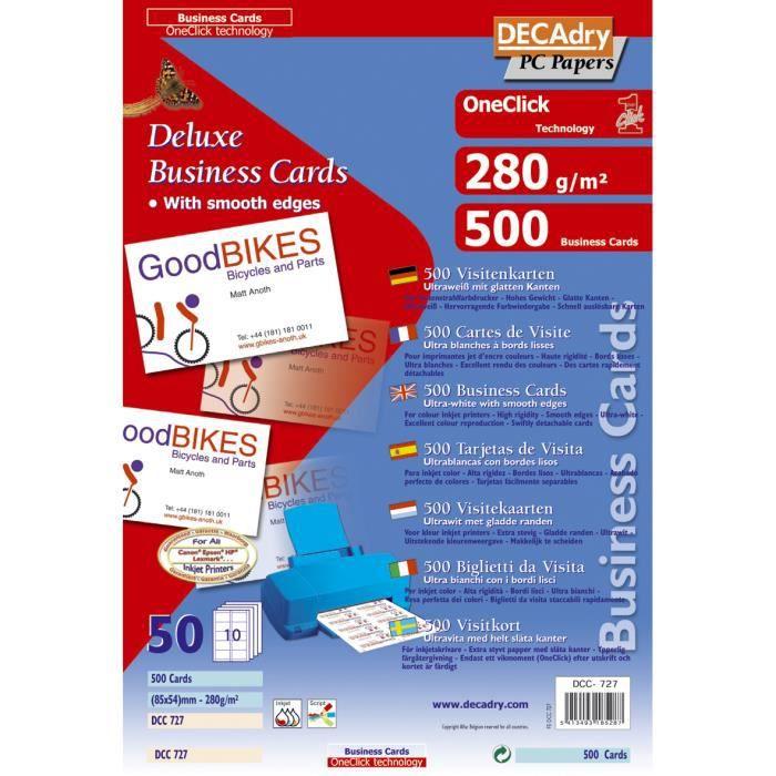 Pochette 500 Cartes De Visite Blanches OneClick