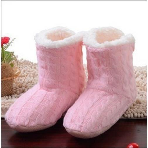 US5-8 (35-38 EUR) belle maison Chaussures, chaussettes sol, couverte chaussons d'hiver Foot Warmer (rose pâle)