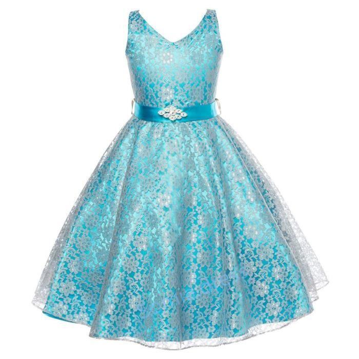 Bleu Robe de fille de fleur Baptême Anniversaire Fête Dentelle mariage de demoiselle dhonneur Flower Girl Dress