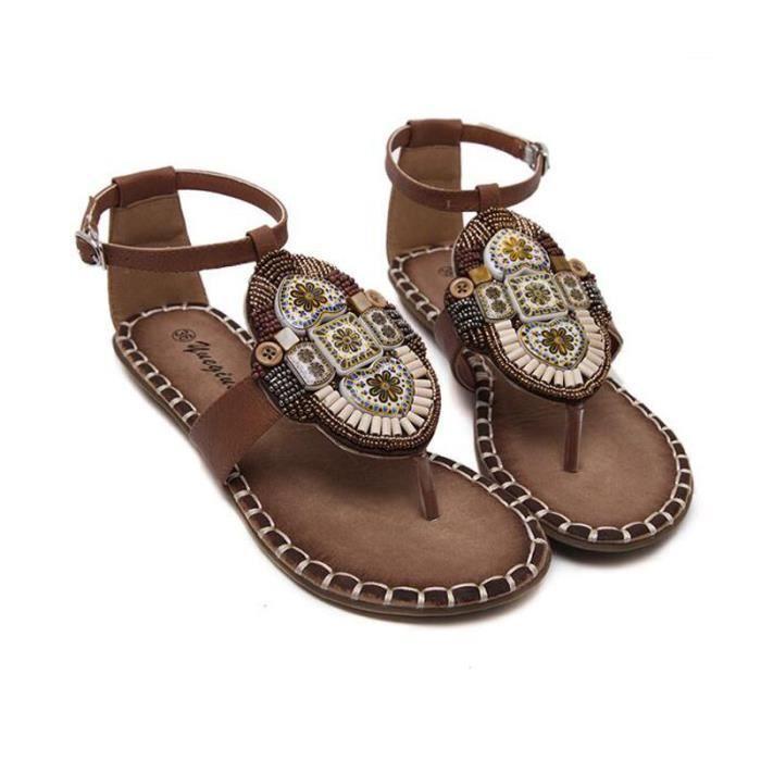 Sandales Femmes Bohémienne été Chaussure Sandale KIANII® Marron