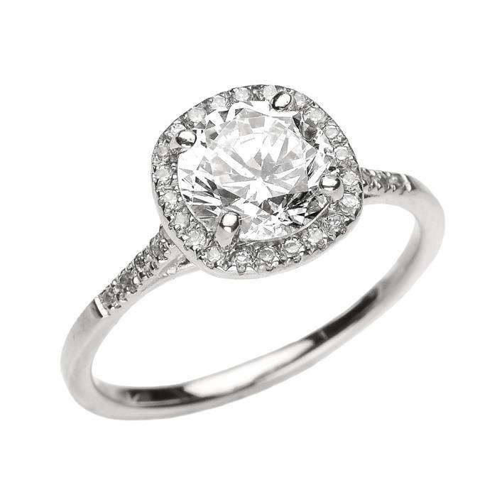 Bague Femme 10 Ct Or Blanc Diamant Et Véritable Blanc Topaze