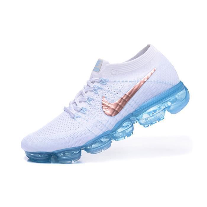check out df88a 7fcee Basket Nike Flyknit Air Vapormax Sports de Femme Chaussures Blanc et Bleu