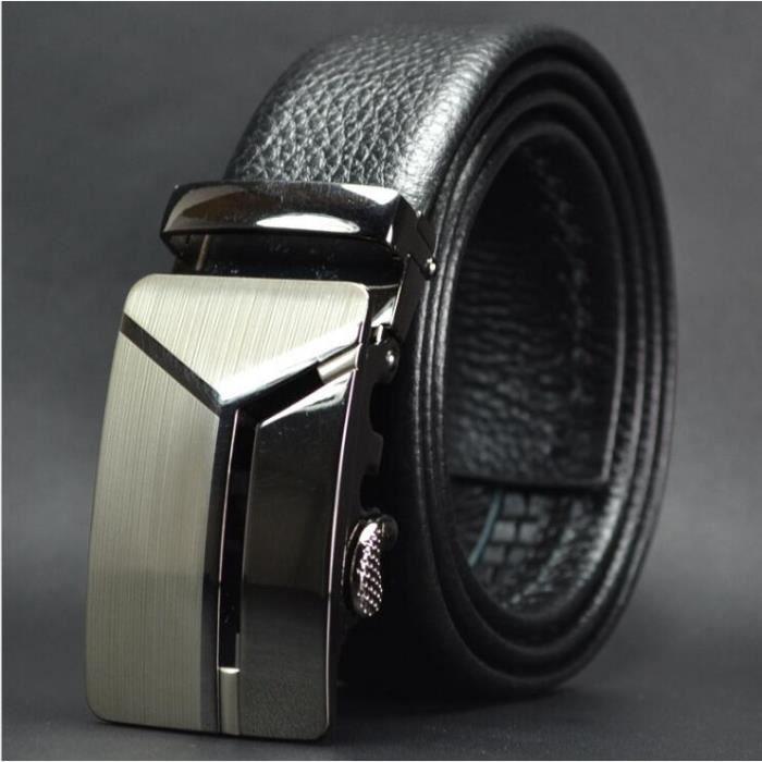 787aff89ca8 Ceinture Haut de gamme automatique boucle en cuir double face première  couche de la ceinture en cuir pour hommes