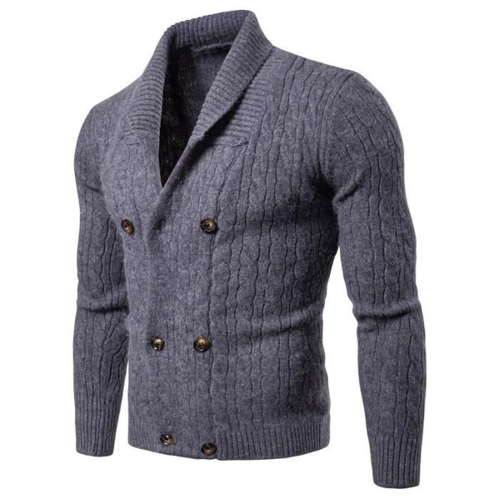 Printemps Pull Col automne Veste Double Blue Knit Homme Noir V en Cardigan Maille Gris Button Breasted rrRqP5A