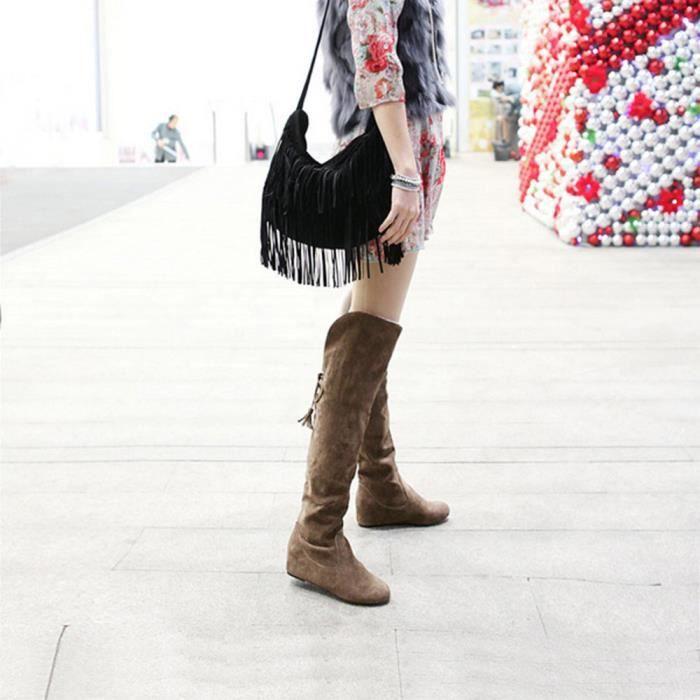 marron Lacets Femme Bottes À Hautes Pour Peluche Chaudes Pilerty®bottes Cuire En FqWxwIzUnv