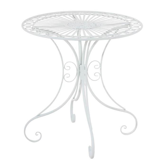 Table de jardin ronde en fer coloris blanc - 72.5 x 70 x 70 cm