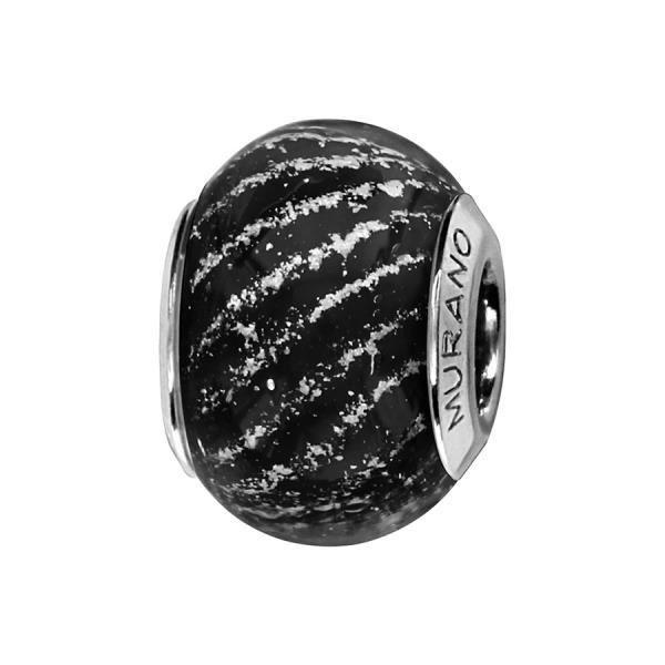 Thabora - Charms - C05242 - Argent Rhodié - Verre de Murano noir - Motif strié