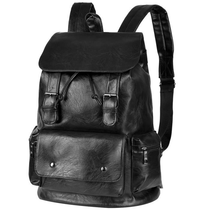 sac a dos cuir noir homme achat vente sac a dos cuir. Black Bedroom Furniture Sets. Home Design Ideas