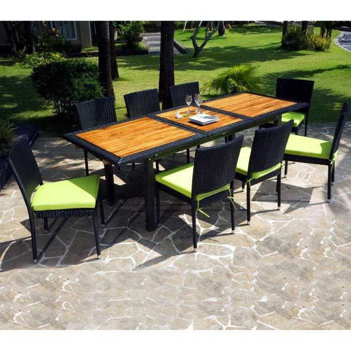 Salon ensemble de jardin table en teck et chaises en résine ...