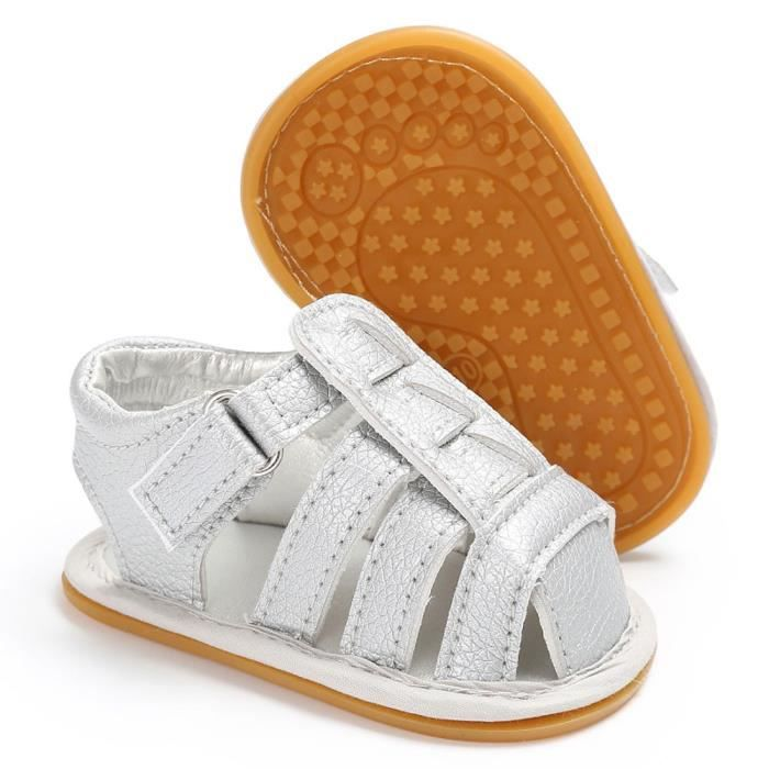 BOTTE Bébé Chaussures à semelle souple en cuir nouveau-né fille lit bébé pré-randonneur 0-18M@ArgentHM