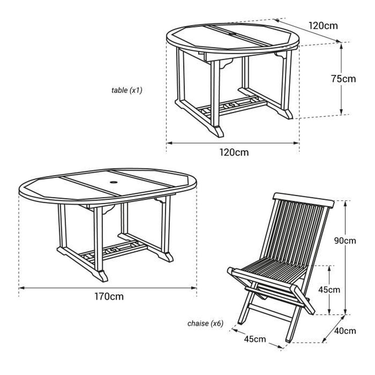 Salon de jardin LOMBOK - table extensible ronde en teck - 6 places marron  Marron