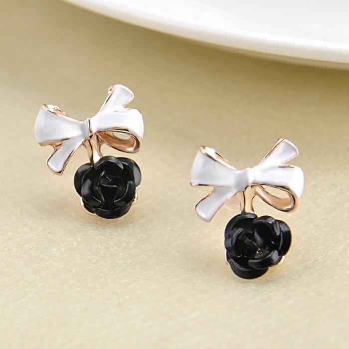 Bijoux mode 2018350 boucle doreille femmes & # 39; haras de la mode bowknot exquise rose goutte de fleur (1 paire)noir
