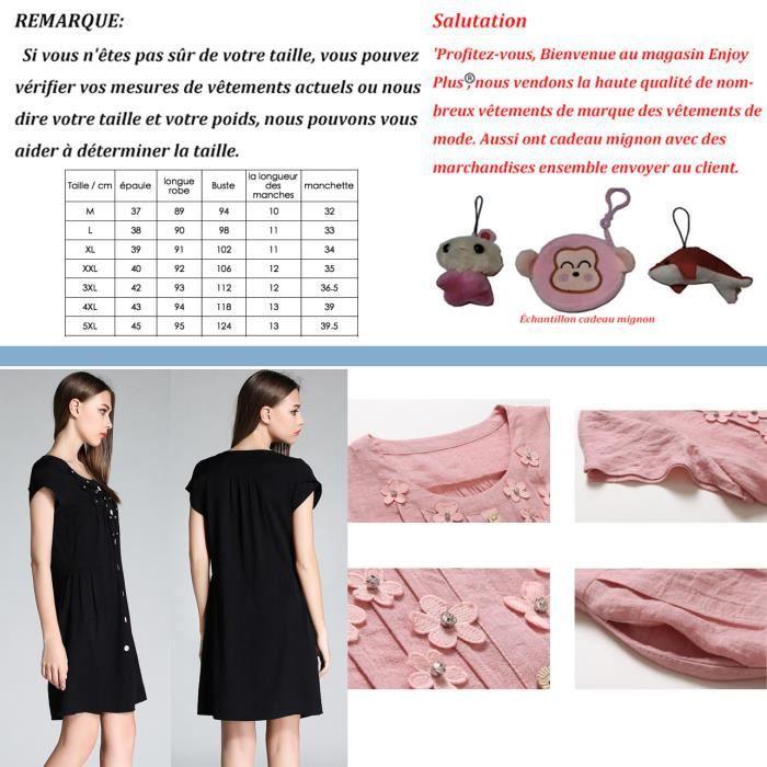 femmes décontractée robe à manches courtes plus la taille nouvel été 2018 grande taille noir rose