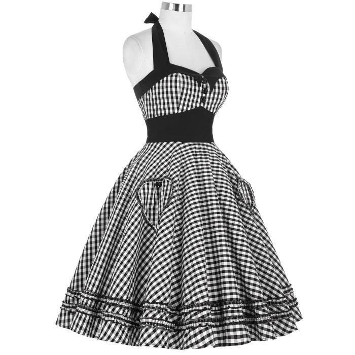 1950 Femmes Vinatge dos nu A-ligne Robe à pois Robe de soirée Wiggle 2RQI4T Taille-34