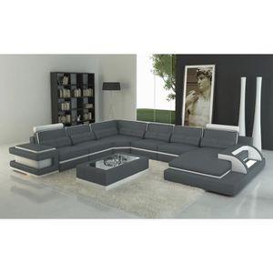 CANAPÉ - SOFA - DIVAN Canapé panoramique cuir gris et blanc design avec