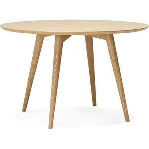 TABLE À MANGER SEULE Table ronde scandinave en bois naturel 6 personnes