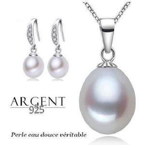 PARURE Parure Bijoux Femme Perle de Culture Blanche Argen
