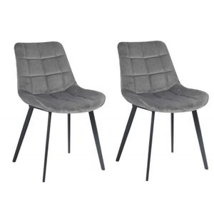 CHAISE LOT 2 Chaises tissu gris velours - GLOSSY