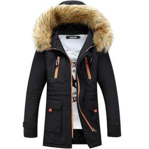 Manteau avec capuche en fourrure homme