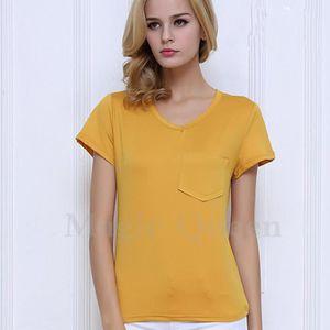 T-SHIRT T-shirt femme unie à manches courte à col en V ...