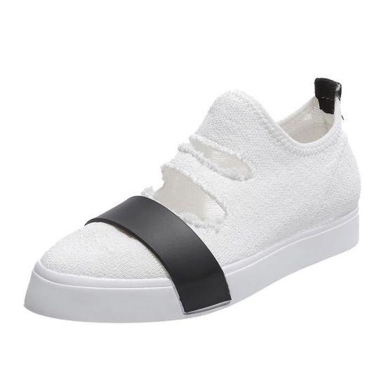 Chaussures femme en tissu extensible à bout pointu à talon plat Slip On Casual Shoes@blanc Blanc Blanc - Achat / Vente slip-on