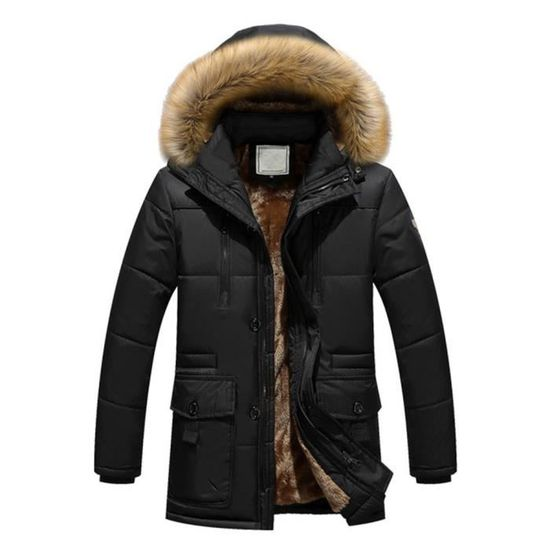 En Rembourré Manteau Veste Polaire Coton Hommes À Noir Épais Les Capuchon Chaud Solide Zippé D'hiver xvPgUOYqwB