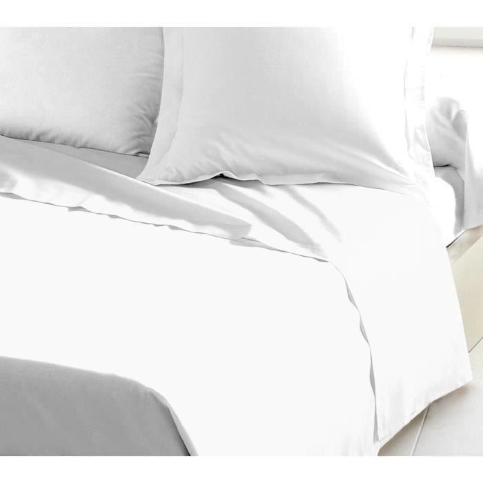LOVELY HOME Drap Plat 100% coton 180x290 cm blanc