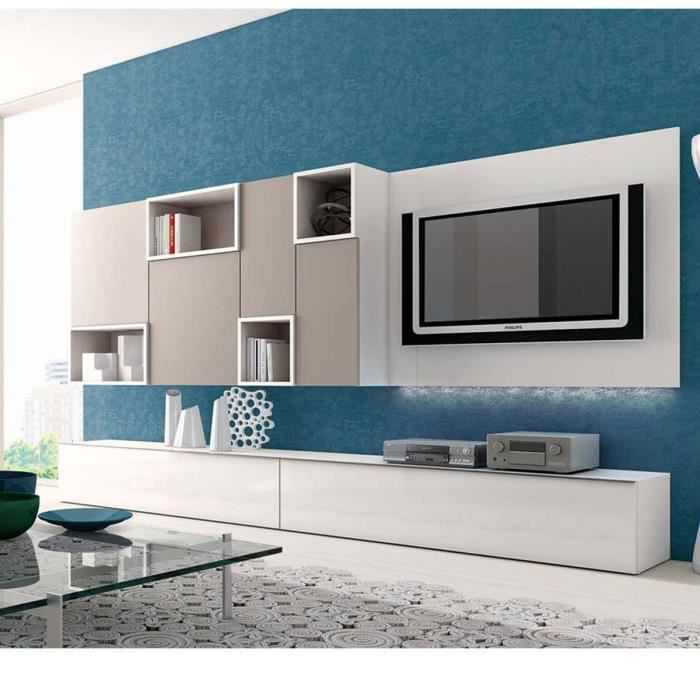 cool living meuble tv meuble mural tv kara led atylia matire panneaux with atylia meuble tv. Black Bedroom Furniture Sets. Home Design Ideas
