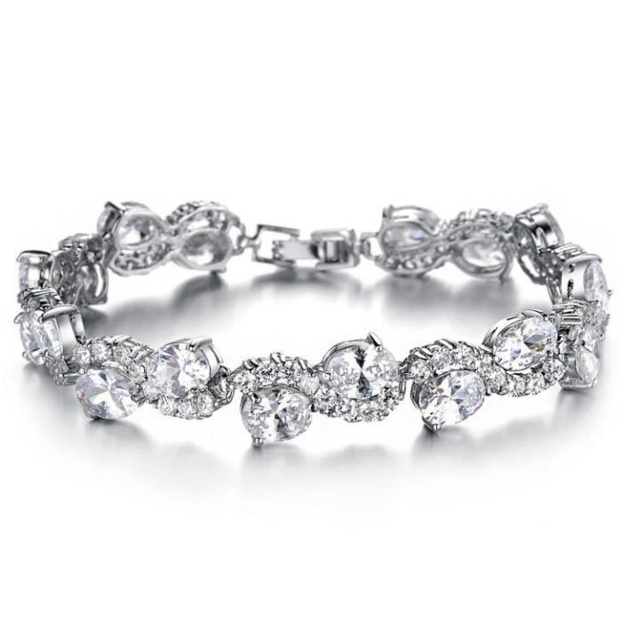 Bracelet Zircon de cuivre plaqué platine Mme bracelet de cristal de cadeaux