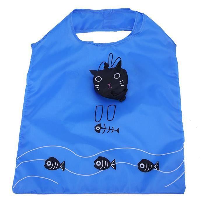 nero pieghevole e blu ecologico di una borsa Riutilizzabile gatto come di R8TwTnq5