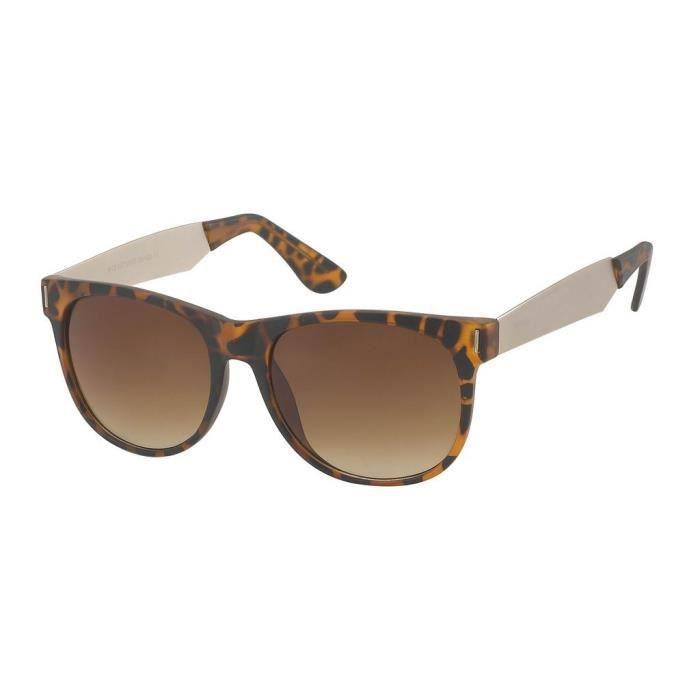 Lunette soleil old shool feminine-9412 monture léopard et verres marron