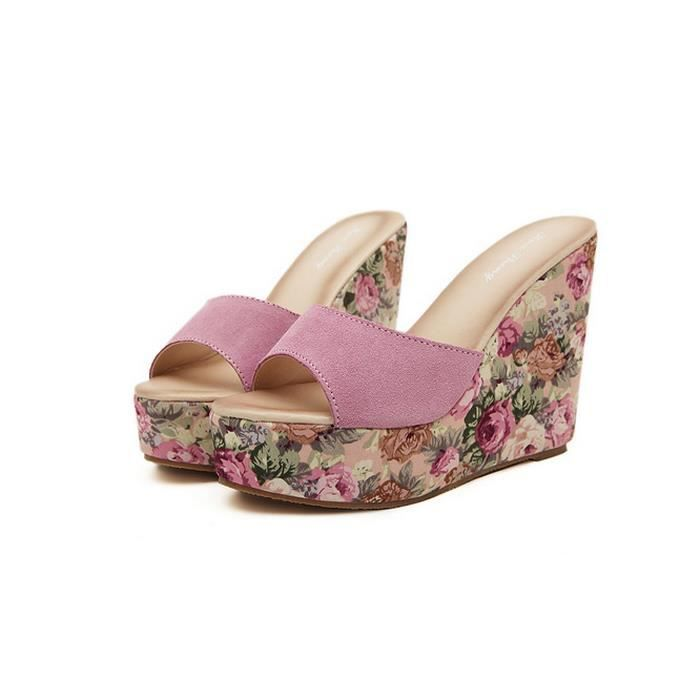 pantoufles d'été Cales grande éponge de base mot sandales de chaussures pour femmes avec des sandales en cuir fqeu38K5E