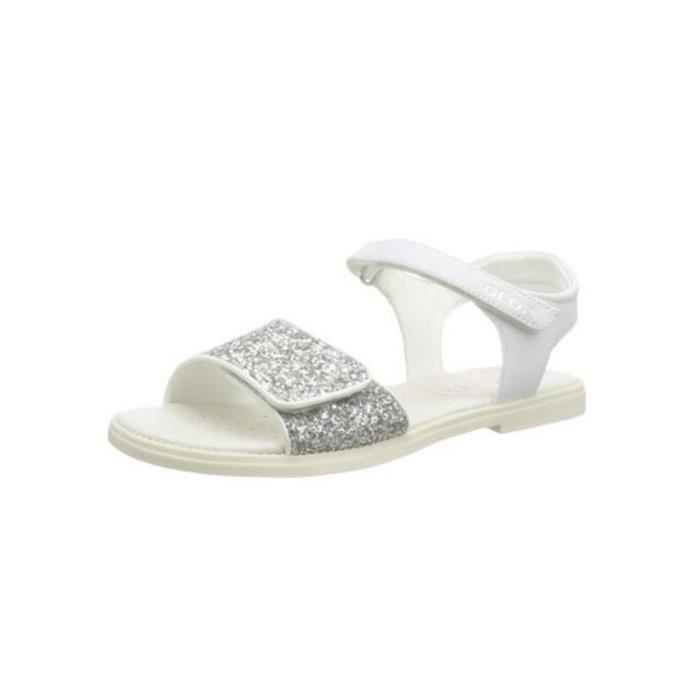 Geox - Geox J Sand Karly Sandales Fille Blanc Scintillement J6235C