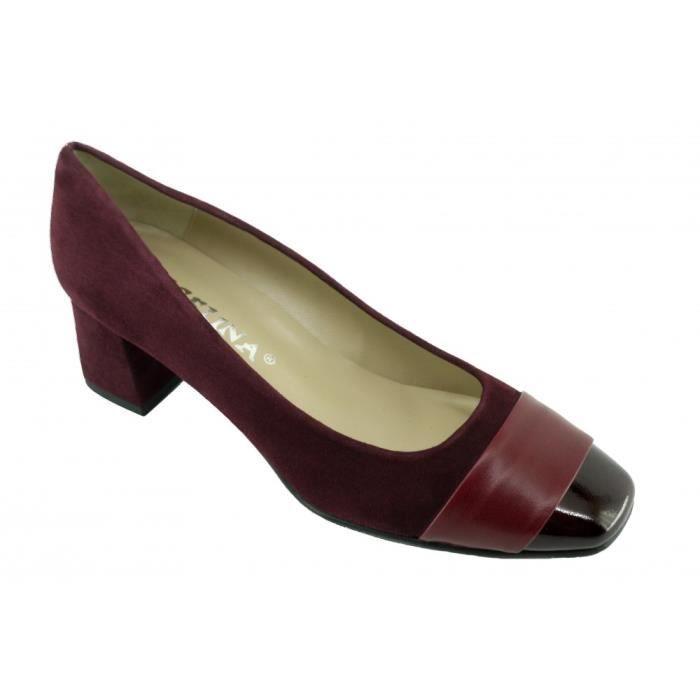 44311619d477d ISABELLE - Escarpins bout vernis talon carré marque Angelina chaussures  Femme petites pointures tailles cuir bordeaux