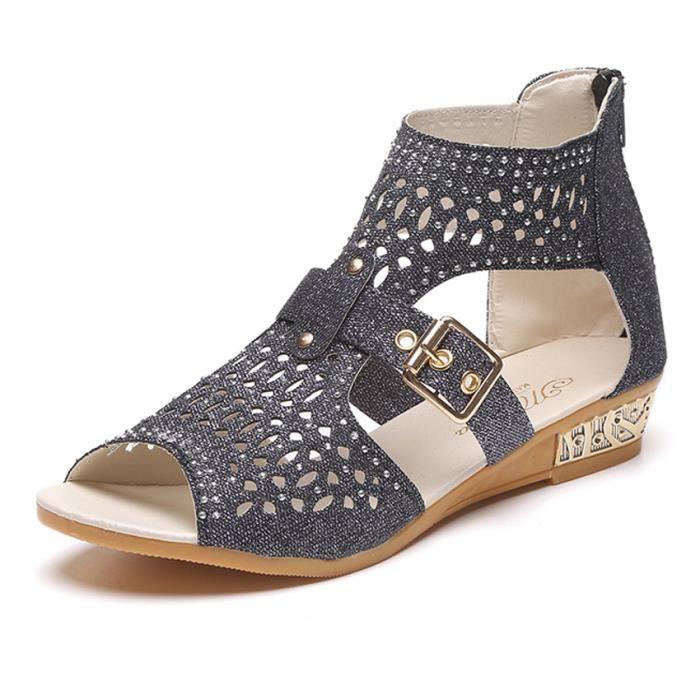 compensées ouvert Version creux à sandales de femmes sandales poisson maille sandales bout WONZOM® coréenne bouche 18wxC1q6