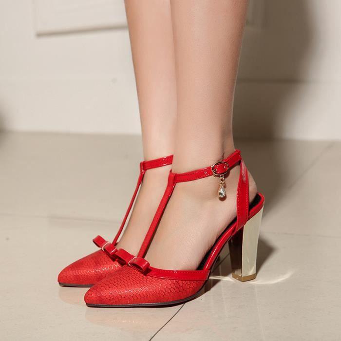 Pointues Confortables Chaussures Sexy blanc 2016 Hauts À Historiques Talons Trois Ms noir Rouge wATzqagt