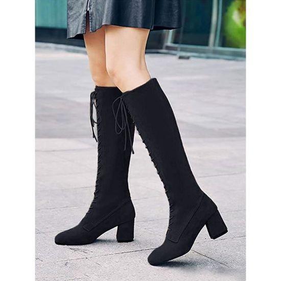 ... Bloc Rétro Minetom Talon Haut Bottes Martin Classiques Mode Automne  Longues Hiver Lacets Femme Chaussures Boots ... e5456d05ca94